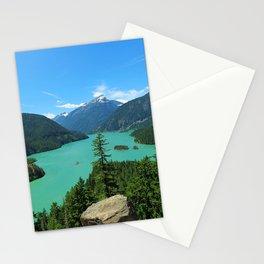 Snowy Mountain Turquoise Lake in Washington Stationery Cards