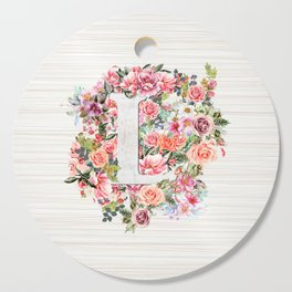 Initial Letter L Watercolor Flower Cutting Board