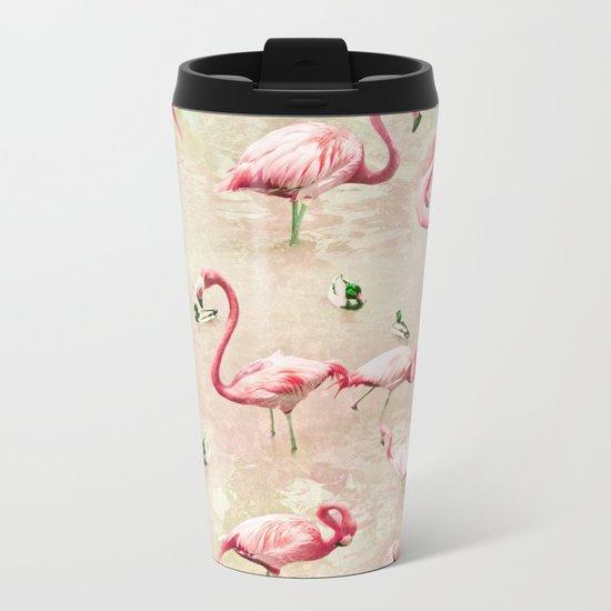 Flamingos Vintage Pink  Metal Travel Mug