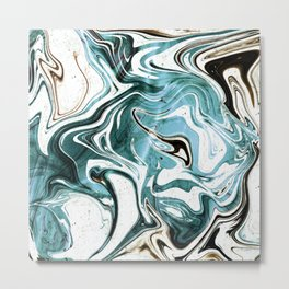 Liquid Teal Marble Metal Print