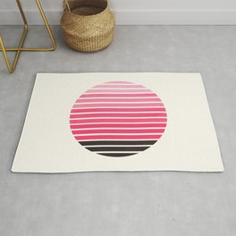 Pink Mid Century Modern Minimalist Scandinavian Colorful Stripes Round Circle Frame Rug