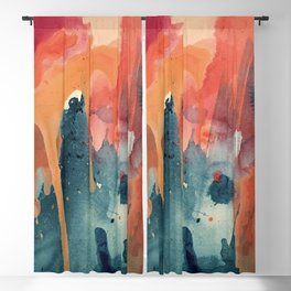 Pour Some Sugar on Me: a colorful mixed media abstract in pinks blues orange and purple Blackout Curtain