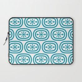 Mid Century Modern Atomic Bands Pattern Turquoise Laptop Sleeve