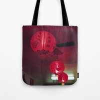 lanterns Tote Bags featuring lanterns by rachel kelso