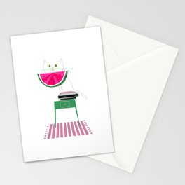 Cat With Watermelon Stationery Cards