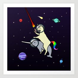 Llamacorn Riding Narwhal In Space Art Print