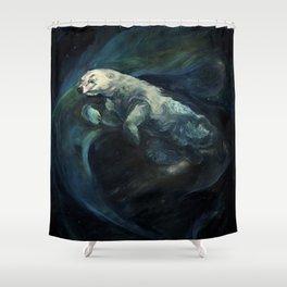 Polar Bear Swimming in Northern Lights Shower Curtain