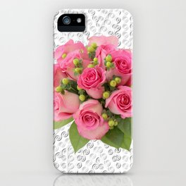 Pink Rose Silver Mandala iPhone Case