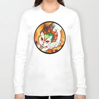 okami Long Sleeve T-shirts featuring Amaterasu from Okami 03 by Jazmine Phillips