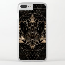 Fox in Sacred Geometry  - Black and Gold Clear iPhone Case