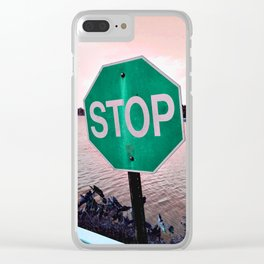 Iterations of a Stop Sign #5: Green Clear iPhone Case