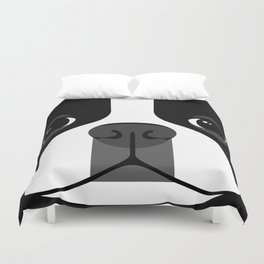 Boston Terrier Close Up Duvet Cover