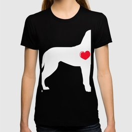 Shirt For Certified Dog Lover Silhouette White With A Heart T-shirt Design Paws Animals Animal Paw T-shirt