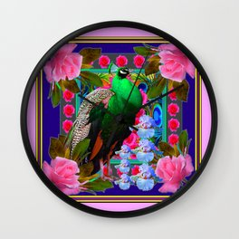 INDIGO PURPLE & PINK ROSES GREEN PEACOCK FLORAL Wall Clock