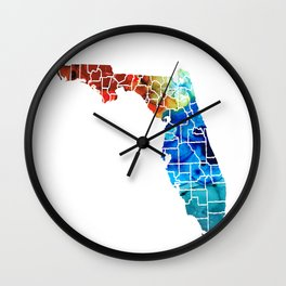 Florida - Map by Counties Sharon Cummings Art Wall Clock