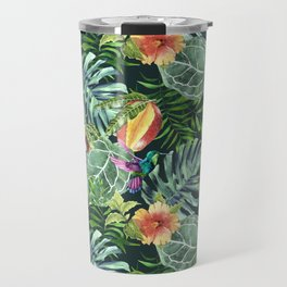 Colorful diverse tropical seamless pattern of watercolor from leaves, fruits, flowers and birds Travel Mug