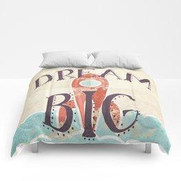 Dream Big - Retro Rocketship Child's Nursery Art Comforters