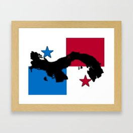 Panama Map with Panamanian Flag Framed Art Print