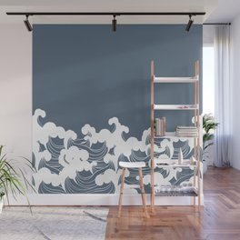 Blue Japanesse Wave Wall Mural