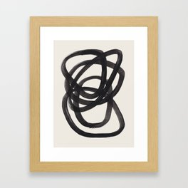 Mid Century Modern Minimalist Abstract Art Brush Strokes Black & White Ink Art Spiral Circles Gerahmter Kunstdruck