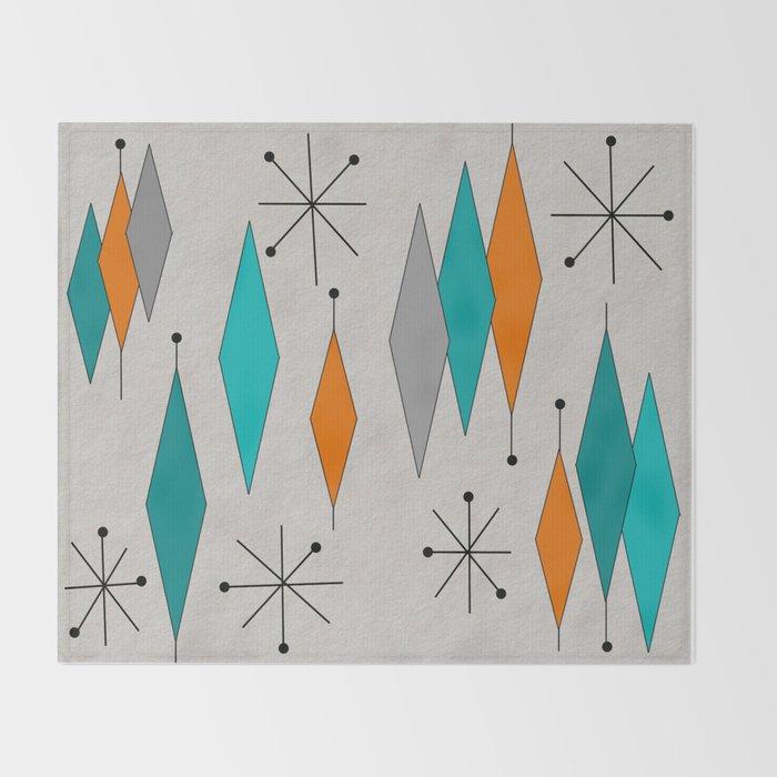 Mid Century Modern Diamond Pattern Throw Blanket