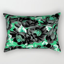 Mount Cook Lily - Green/Black Rectangular Pillow