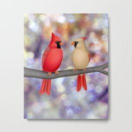 cardinals on a branch - bokeh Metal Print
