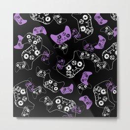 Video Game Lavender and Black Metal Print