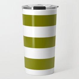 Olive - solid color - white stripes pattern Travel Mug
