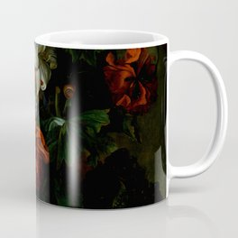 """Ernest Stuven """"Poppies, lilies, roses and other flowers in a glass vase on a draped marble ledge"""" Coffee Mug"""
