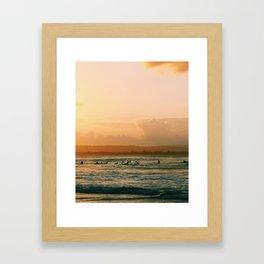 Byron Bay Sunset Surfers Framed Art Print