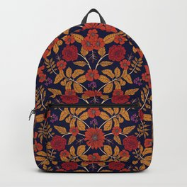 Fall/Autumn Floral Pattern with Purple, Orange & Red Backpack