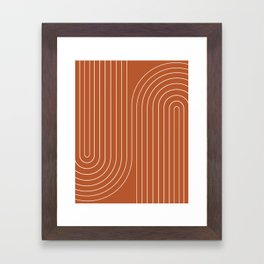 Minimal Line Curvature - Coral Red Framed Art Print