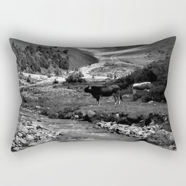 verpeil valley cows river mountains kaunertal tirol austria europe black white Rectangular Pillow