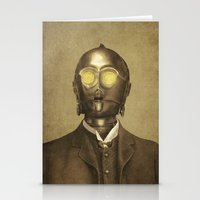 robot Stationery Cards featuring Baron Von Three PO  by Terry Fan