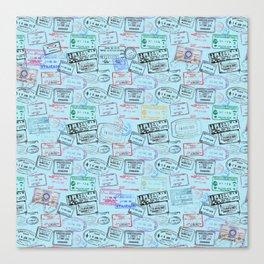 Worldly Traveler - Passport Pattern - Light Blue Canvas Print