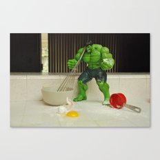 Green Hulk Don't Like Cooking Canvas Print