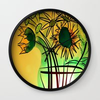 leah flores Wall Clocks featuring Flores by transFIGure