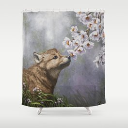 Wolf Pup and Spring Blossoms Shower Curtain
