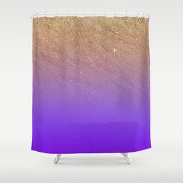 Elegant gold faux glitter chic purple gradient pattern Shower Curtain