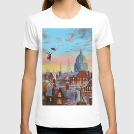 Mary Poppins flying above the rooftops of London T-shirt