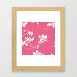 Seamless magnolia flower pink pattern in japan style Framed Art Print