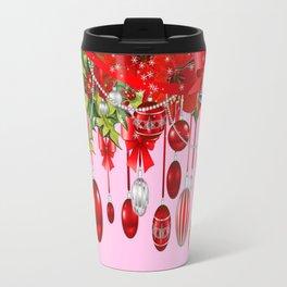 AMARYLLIS FLOWERS & HOLIDAY ORNAMENTS FLORAL PINK ART Travel Mug