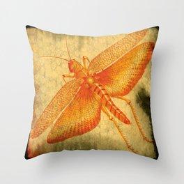 Orange Grasshopper Throw Pillow