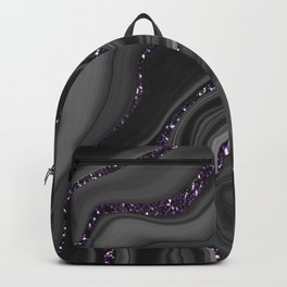 Liquid Black Gray White Agate Glitter Dream #1 #gem #decor #art #society6 Backpack