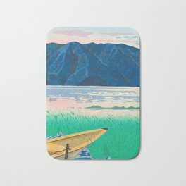 Tokuriki Tomikichiro Rice Field Lake Japan Japanese Woodblock Print Bath Mat