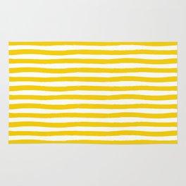 Yellow And White Horizontal Stripes Rug