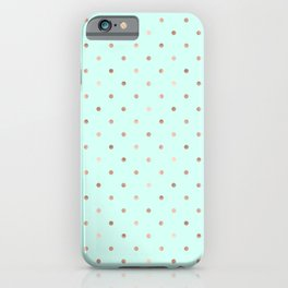 Mint & Rose Gold Polka Dot Pattern iPhone Case