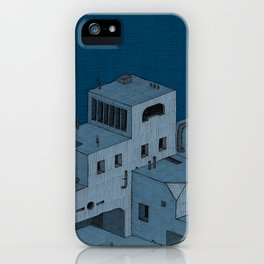 3 Tourists Find The Blue Buildings iPhone Case