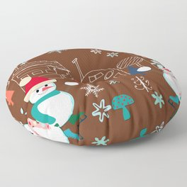 winter fun brown Floor Pillow